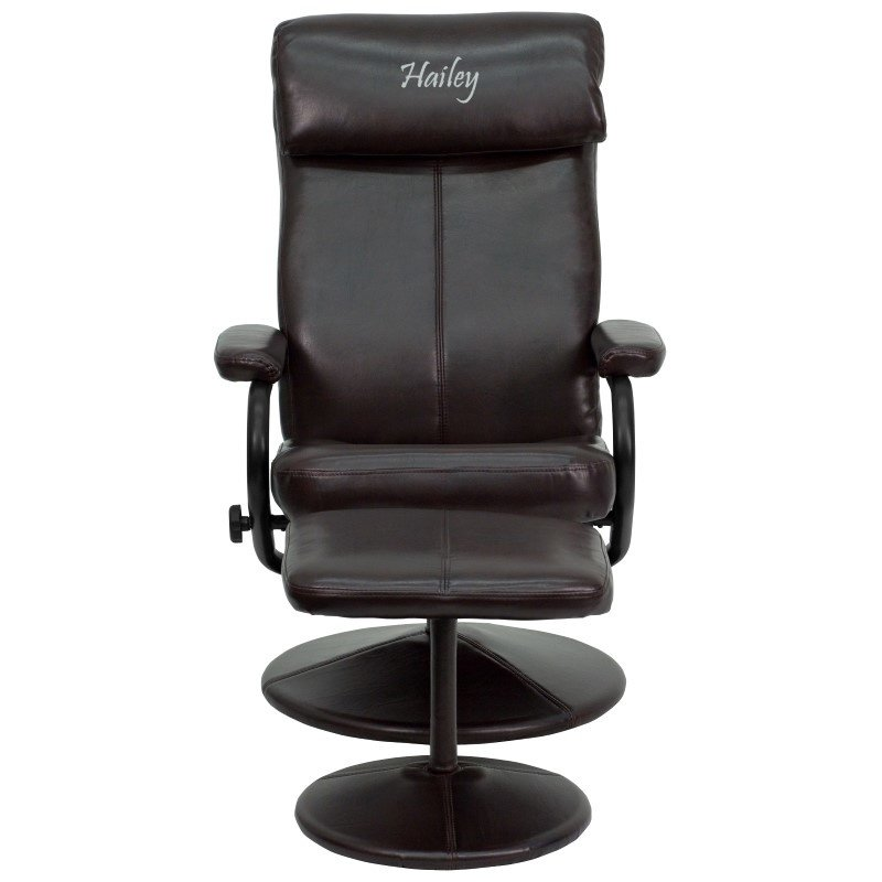 Flash Furniture Personalized Contemporary Brown Leather Recliner and Ottoman with Leather Wrapped Base