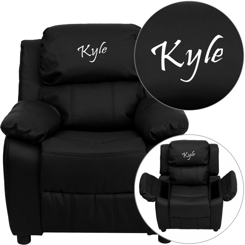 Flash Furniture Personalized Deluxe Padded Black-Leather Kids Recliner with Storage Arms