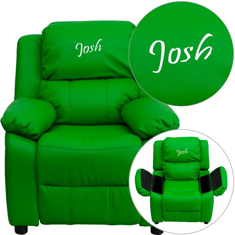 Flash Furniture Personalized Deluxe Padded Green-Vinyl Kids Recliner with Storage Arms