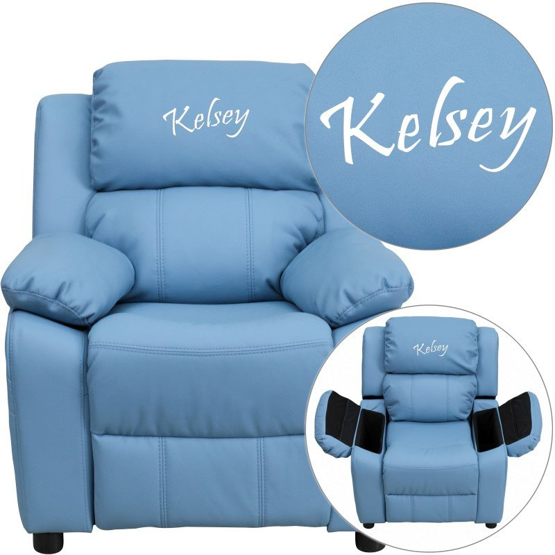 Flash Furniture Personalized Deluxe Padded Light Blue Vinyl Kids Recliner with Storage Arms
