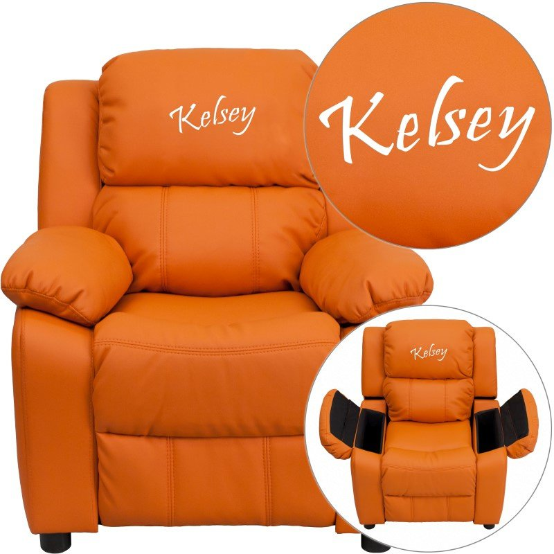 Flash Furniture Personalized Deluxe Padded Orange Vinyl Kids Recliner with Storage Arms