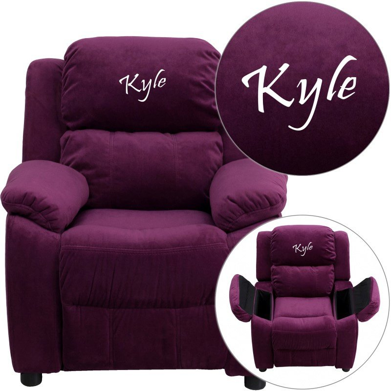 Flash Furniture Personalized Deluxe Padded Purple Microfiber Kids Recliner with Storage Arms