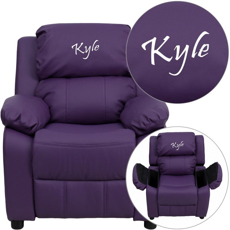 Flash Furniture Personalized Deluxe Padded Purple-Vinyl Kids Recliner with Storage Arms