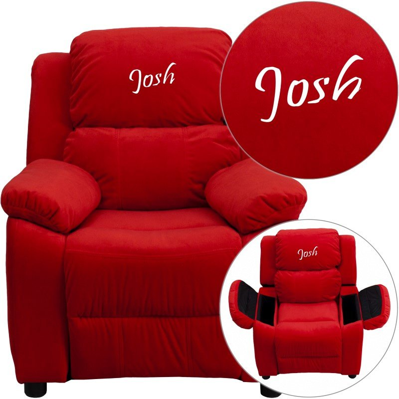 Flash Furniture Personalized Deluxe Padded Red-Microfiber Kids Recliner with Storage Arms