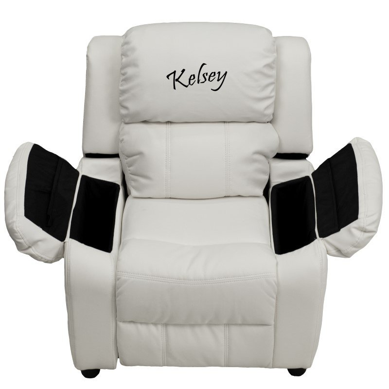 Flash Furniture Personalized Deluxe Padded White-Vinyl Kids Recliner with Storage Arms