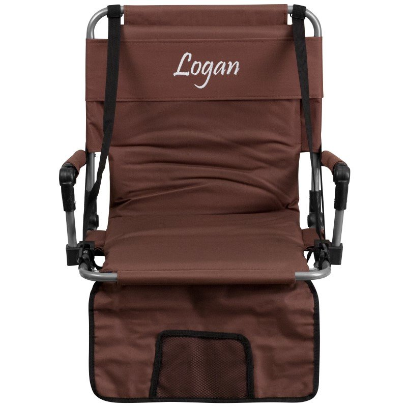 Flash Furniture Personalized Folding Stadium Chair in Brown