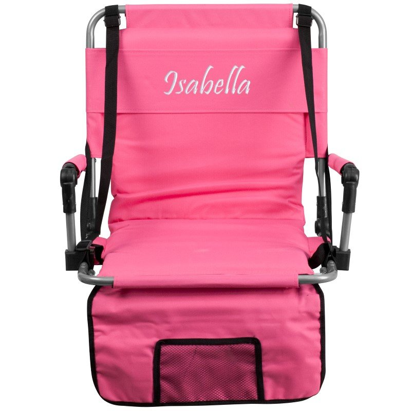 Flash Furniture Personalized Folding Stadium Chair in Pink