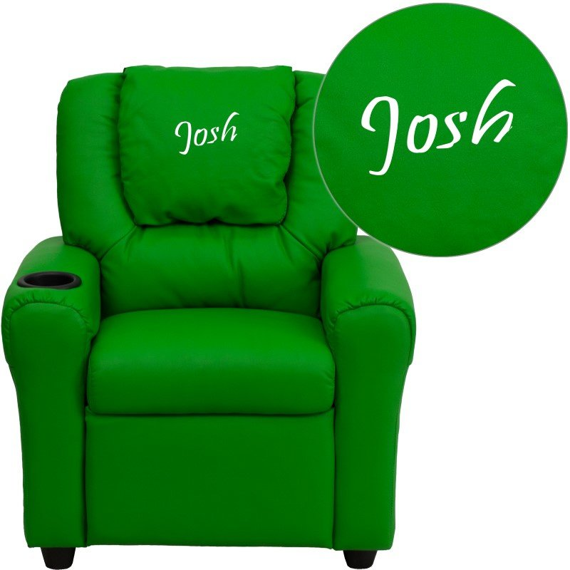 Flash Furniture Personalize Green Vinyl Kids Recliner with Cup Holder and Headrest