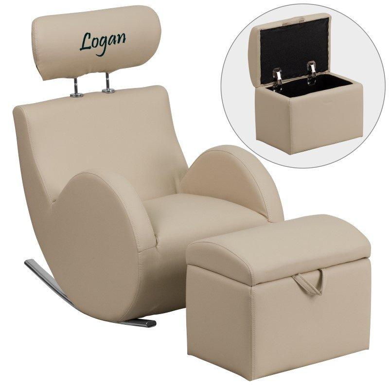 Flash Furniture Personalized HERCULES Series Beige Vinyl Rocking Chair with Storage Ottoman