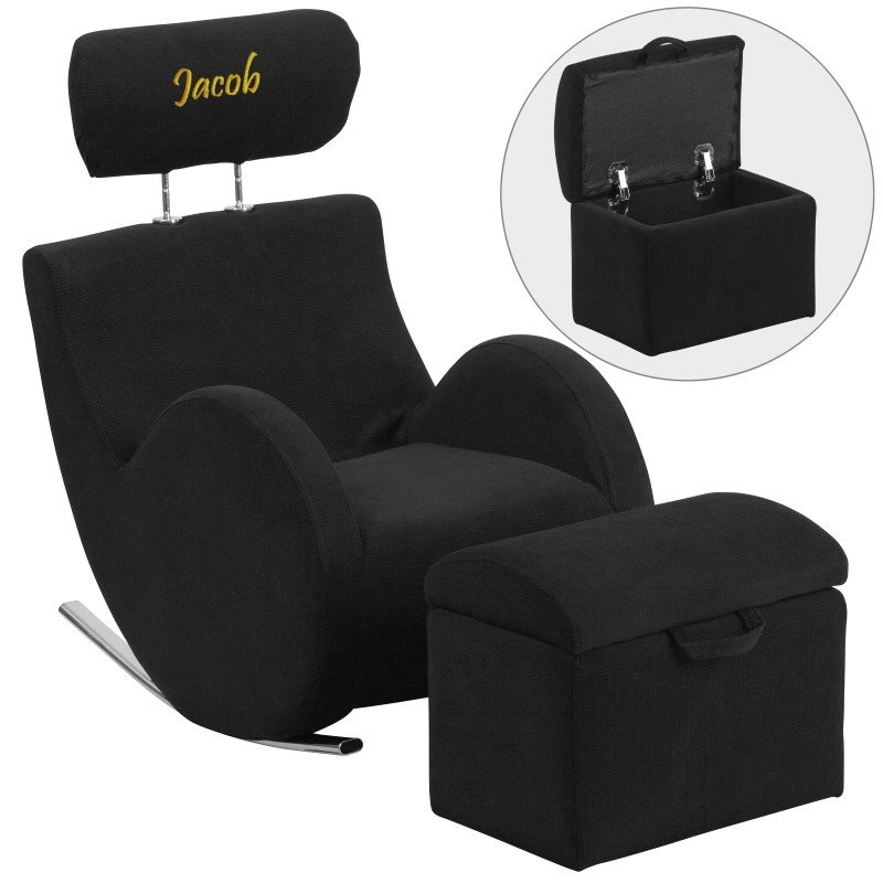 Flash Furniture Personalized HERCULES Series Black-Fabric Rocking Chair with Storage Ottoman
