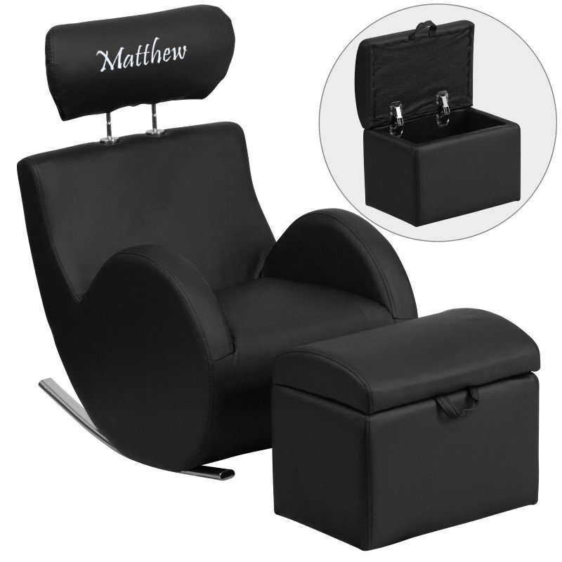 Flash Furniture Personalized HERCULES Series Black-Vinyl Rocking Chair with Storage Ottoman