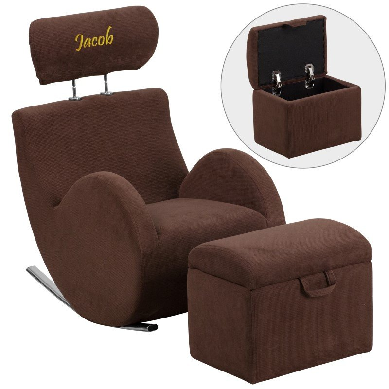 Flash Furniture Personalized HERCULES Series Brown-Fabric Rocking Chair with Storage Ottoman