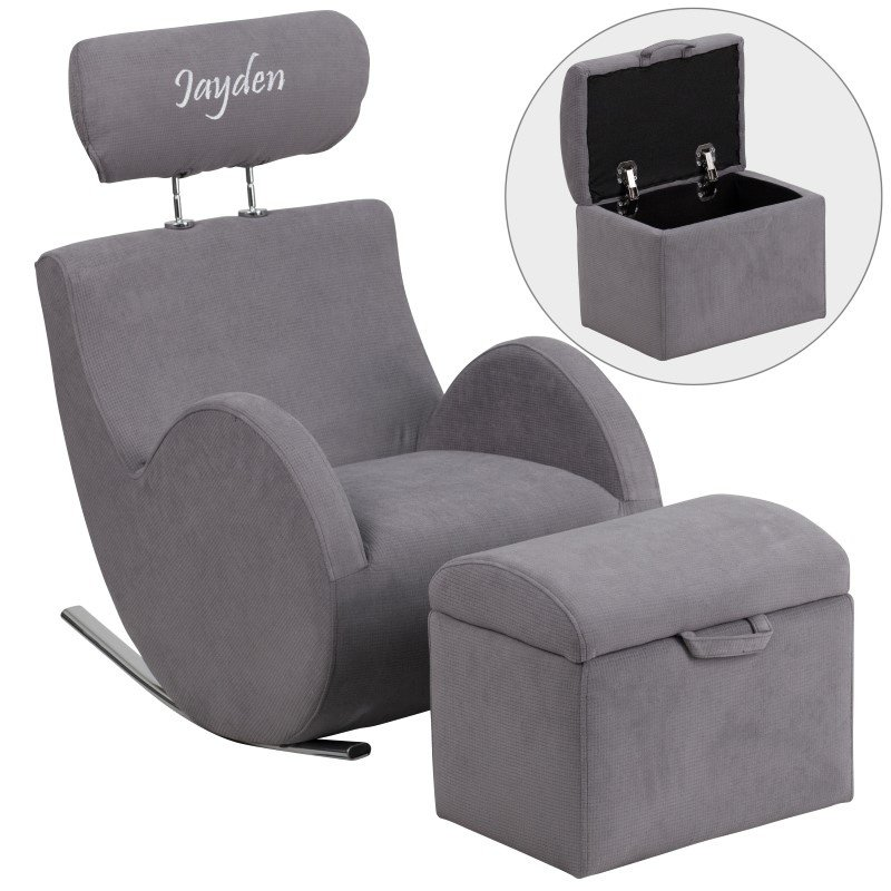 Flash Furniture Personalized HERCULES Series Gray-Fabric Rocking Chair with Storage Ottoman