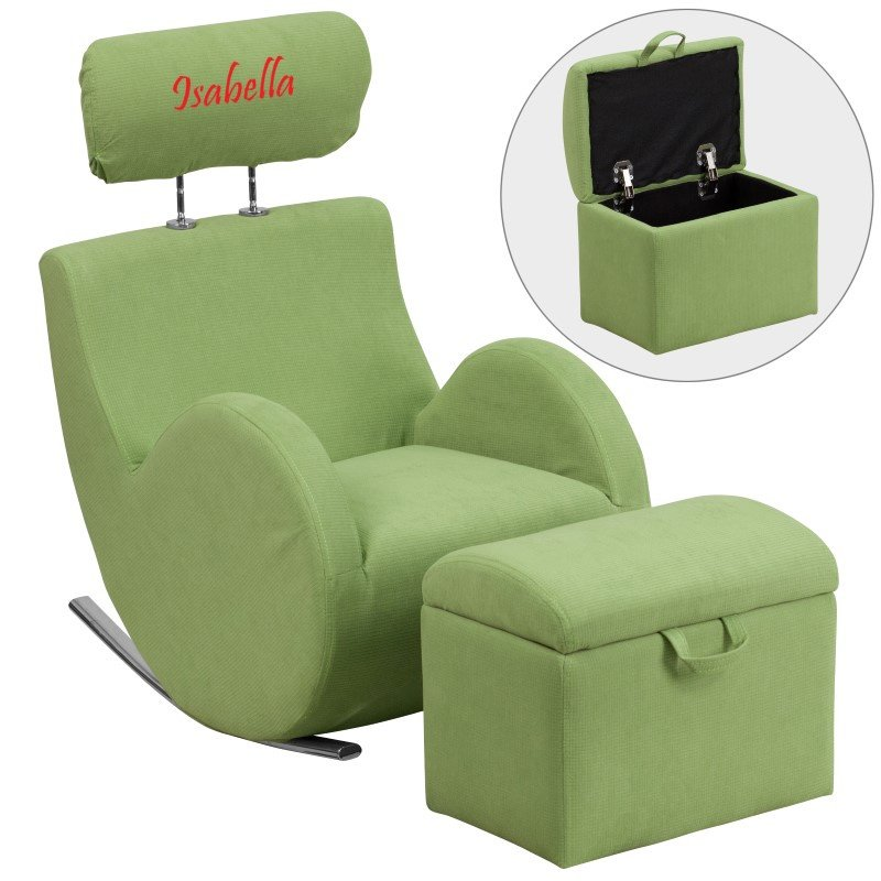 Flash Furniture Personalized HERCULES Series Green Fabric Rocking Chair with Storage Ottoman