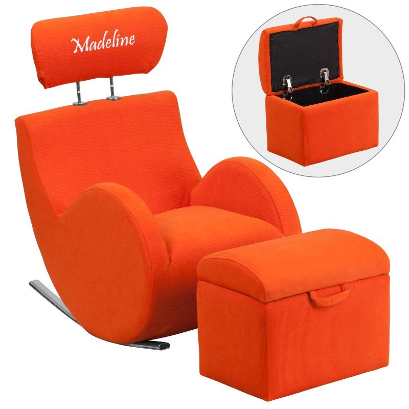 Flash Furniture Personalized HERCULES Series Orange-Fabric Rocking Chair with Storage Ottoman