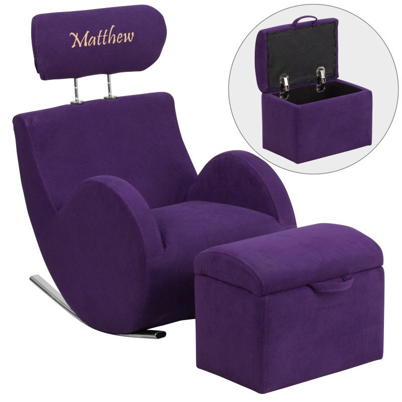 Flash Furniture Personalized HERCULES Series Purple Fabric Rocking Chair with Storage Ottoman