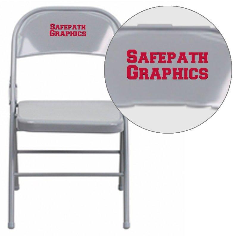 Flash Furniture Personalized HERCULES Series Triple Braced & Double Hinged Gray Metal Folding Chair (HF3-MC-309AS-GY-EMB-VYL-GG)
