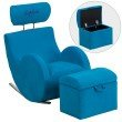 Flash Furniture Personalized HERCULES Series Turquoise Blue-Fabric Rocking Chair with Storage Ottoman