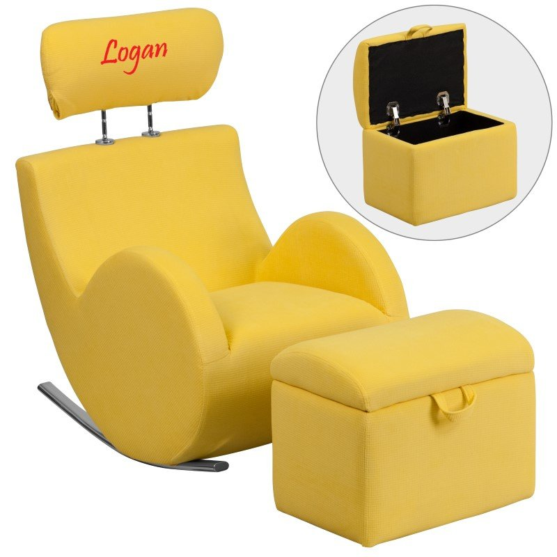 Flash Furniture Personalized HERCULES Series Yellow-Fabric Rocking Chair with Storage Ottoman