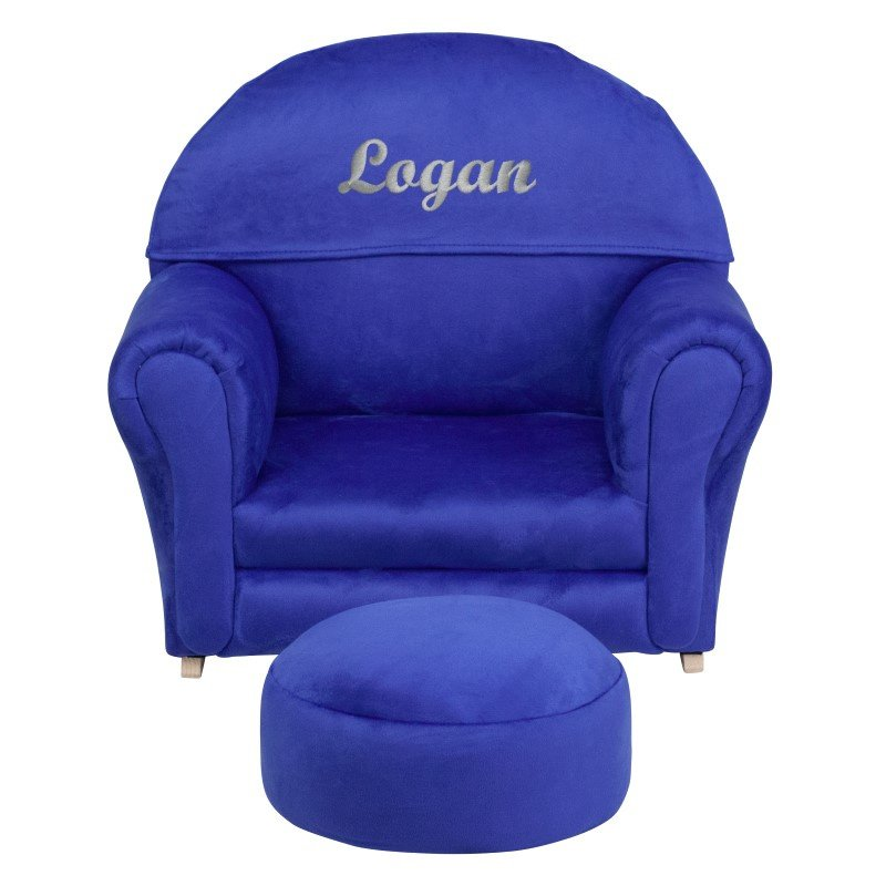 Flash Furniture Personalize Kids Blue Microfiber Rocker Chair and Footrest
