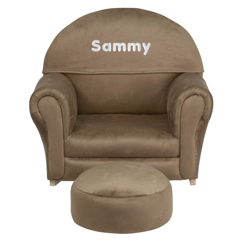 Flash Furniture Personalize Kids Brown Microfiber Rocker Chair and Footrest