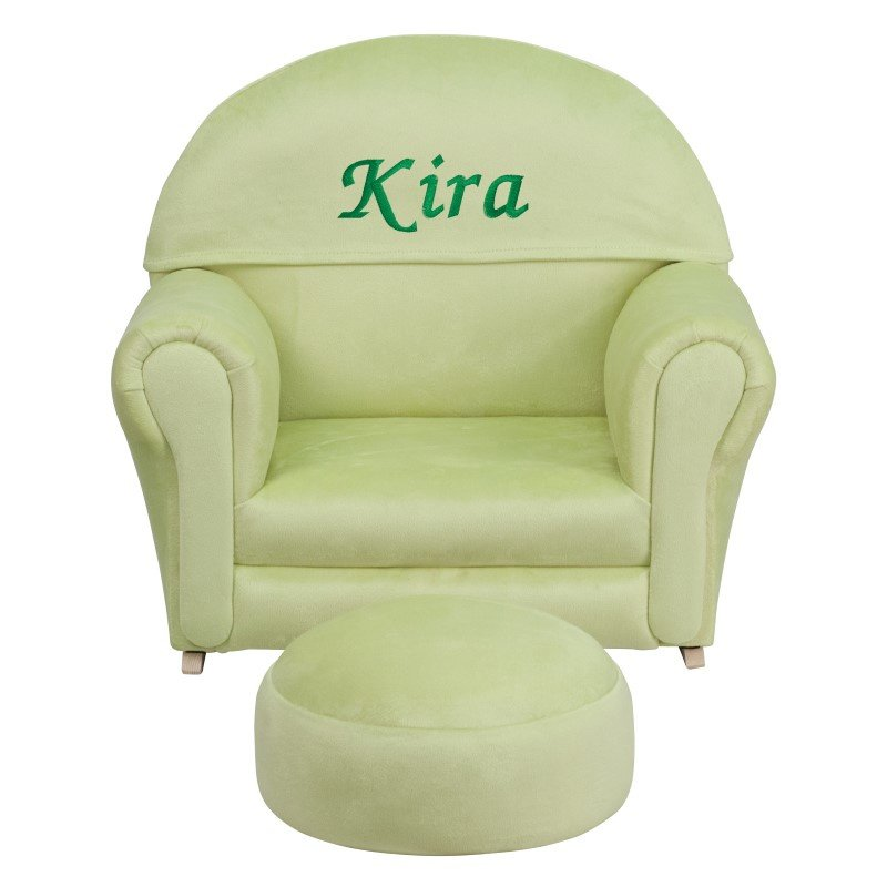 Flash Furniture Personalized Kids Green Microfiber Rocker Chair and Footrest