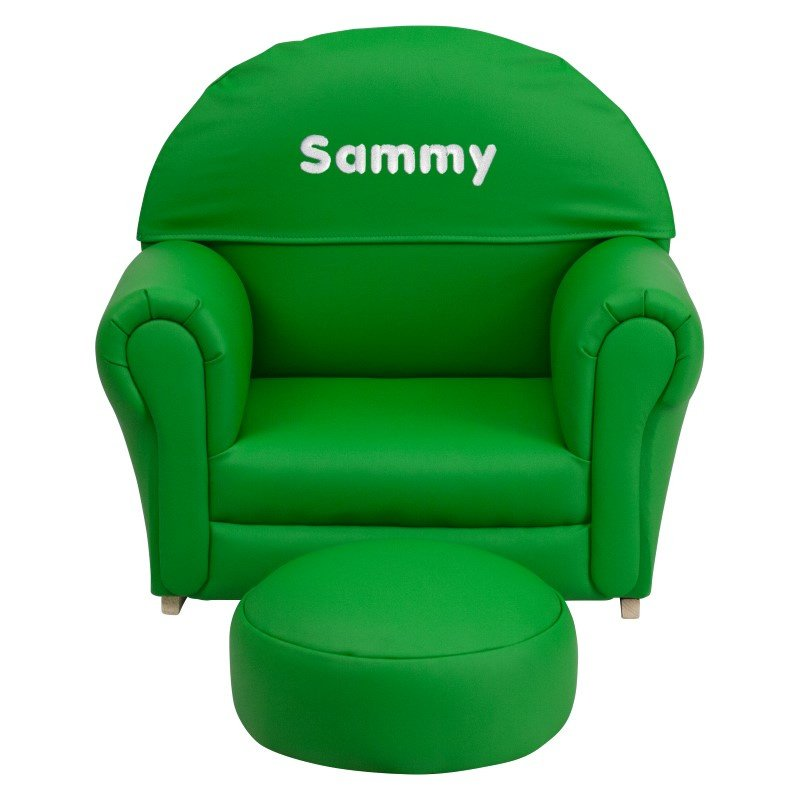 Flash Furniture Personalize Kids Green Vinyl Rocker Chair and Footrest