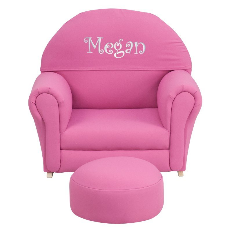 Flash Furniture Personalized Kids Hot Pink Fabric Rocker Chair and Footrest