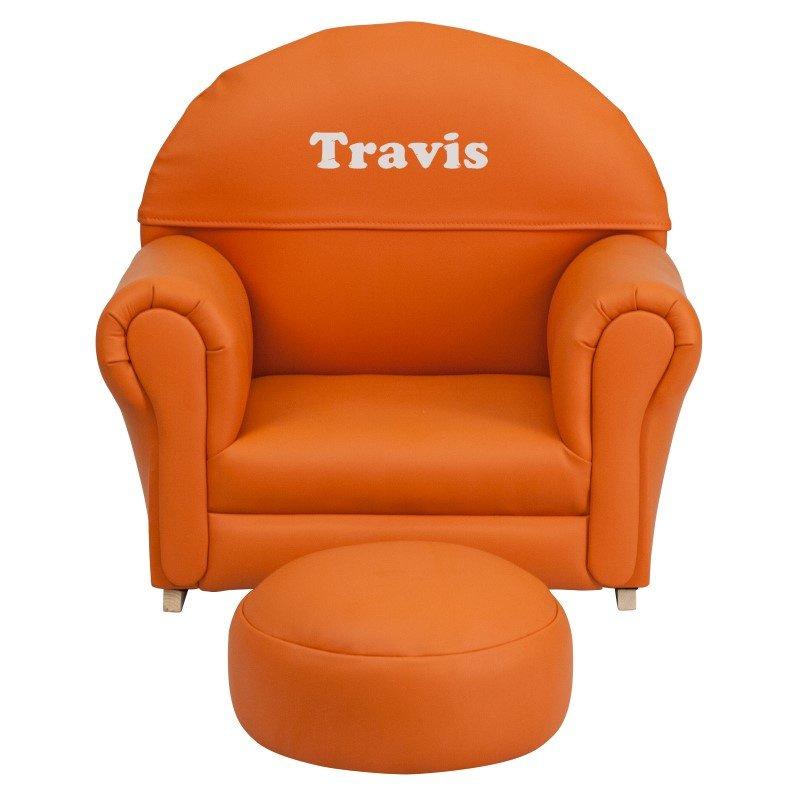 Flash Furniture Personalized Kids Orange Vinyl Rocker Chair and Footrest