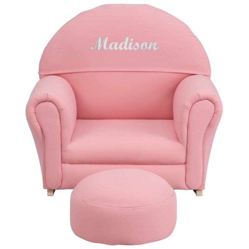 Flash Furniture Personalize Kids Pink Fabric Rocker Chair and Footrest