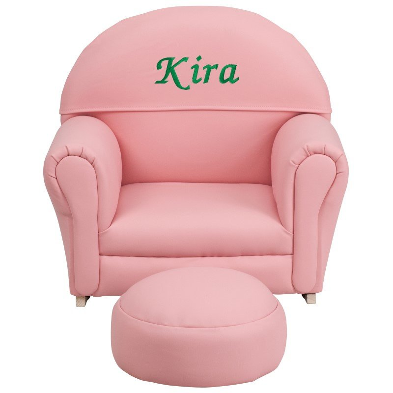 Flash Furniture Personalized Kids Pink Vinyl Rocker Chair and Footrest