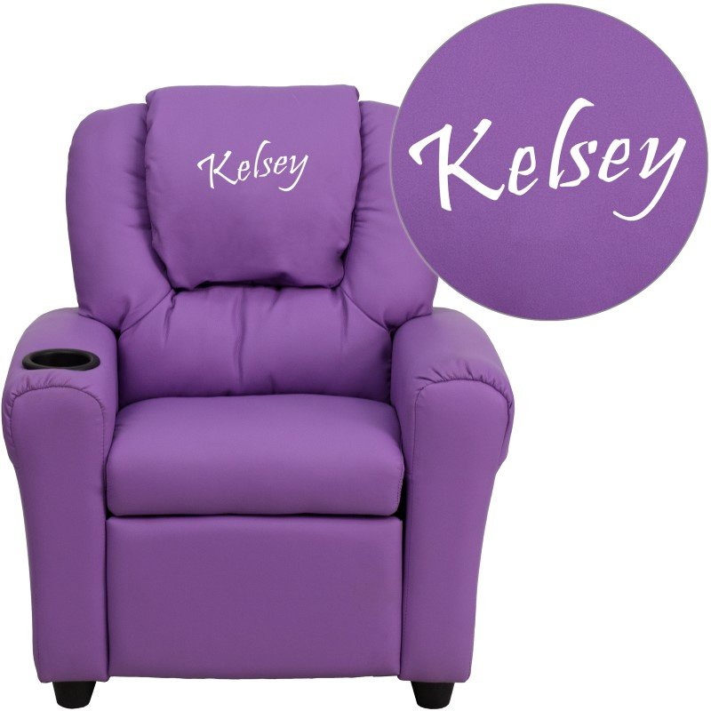 Flash Furniture Personalize Lavender Vinyl Kids Recliner with Cup Holder and Headrest