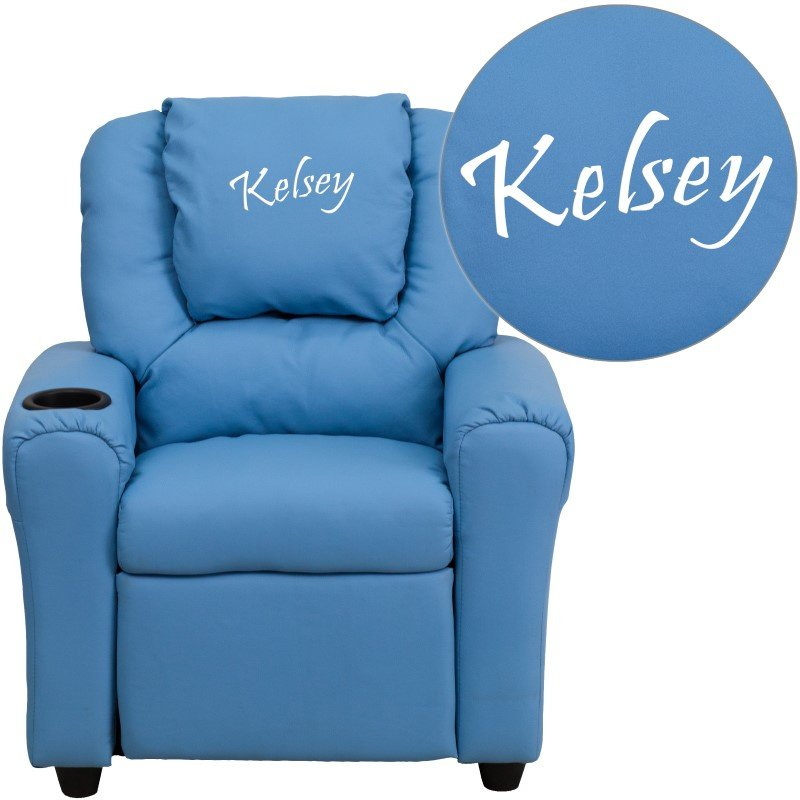 Flash Furniture Personalize Light Blue Vinyl Kids Recliner with Cup Holder and Headrest