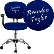 Flash Furniture Personalized Mid-Back Blue Mesh Swivel Task Chair with Chrome Base and Arms