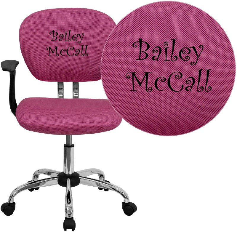 Flash Furniture Personalized Mid-Back Pink Mesh Swivel Task Chair with Chrome Base and Arms
