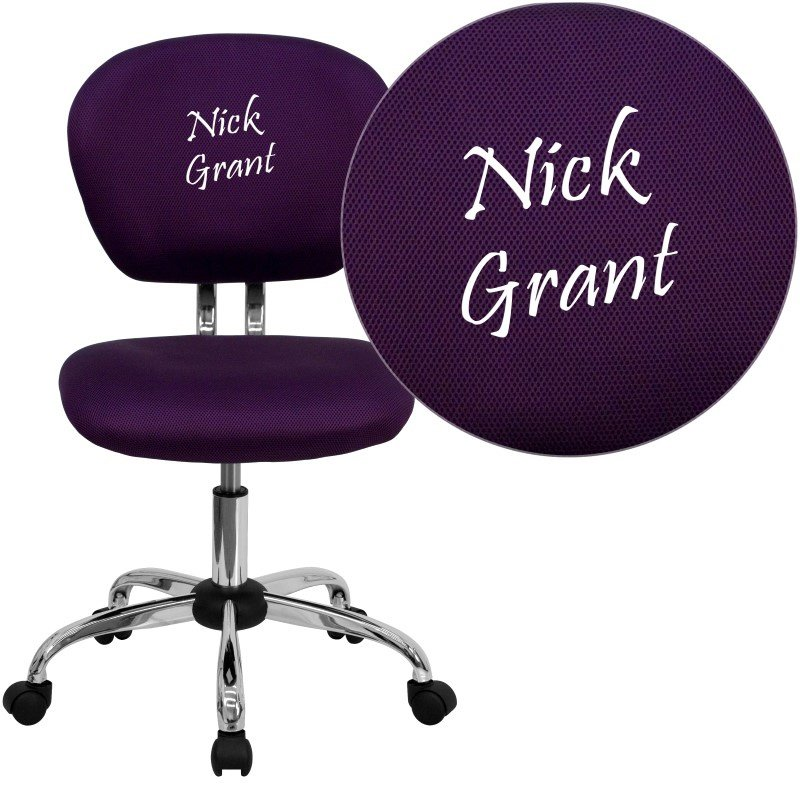 Flash Furniture Personalized Mid-Back Purple Mesh Swivel Task Chair with Chrome Base