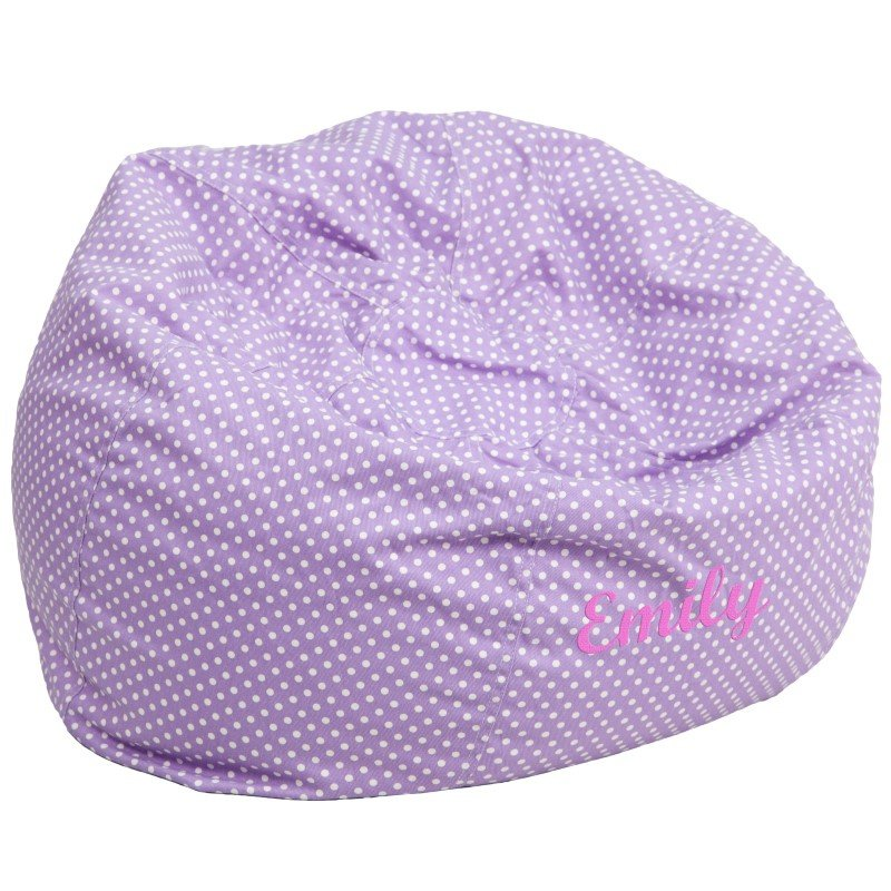 Flash Furniture Personalized Oversize Lavender Dot Bean Bag Chair