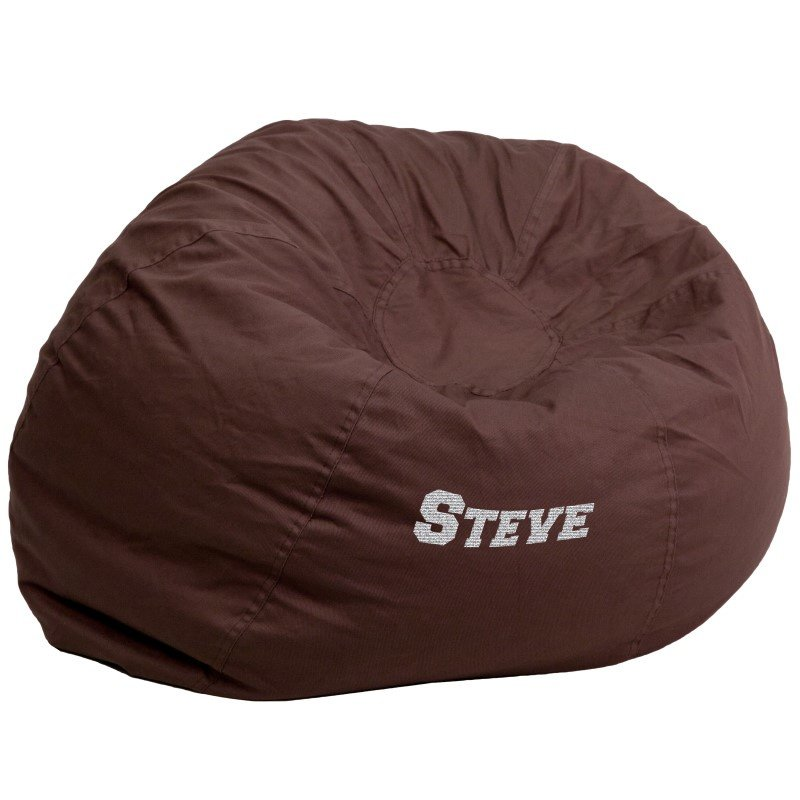Flash Furniture Personalized Oversize Solid Brown Bean Bag Chair