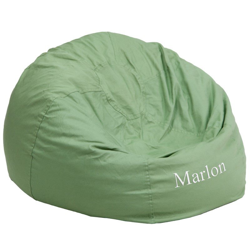 Flash Furniture Personalized Oversize Solid Green Bean Bag Chair