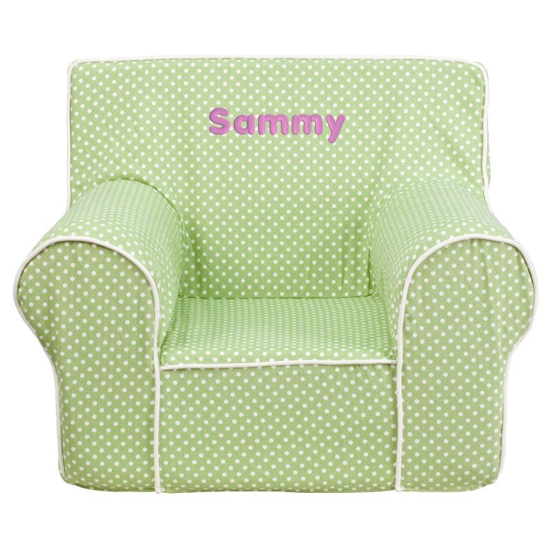 Flash Furniture Personalize Small Green Dot Kids Chair with White Piping