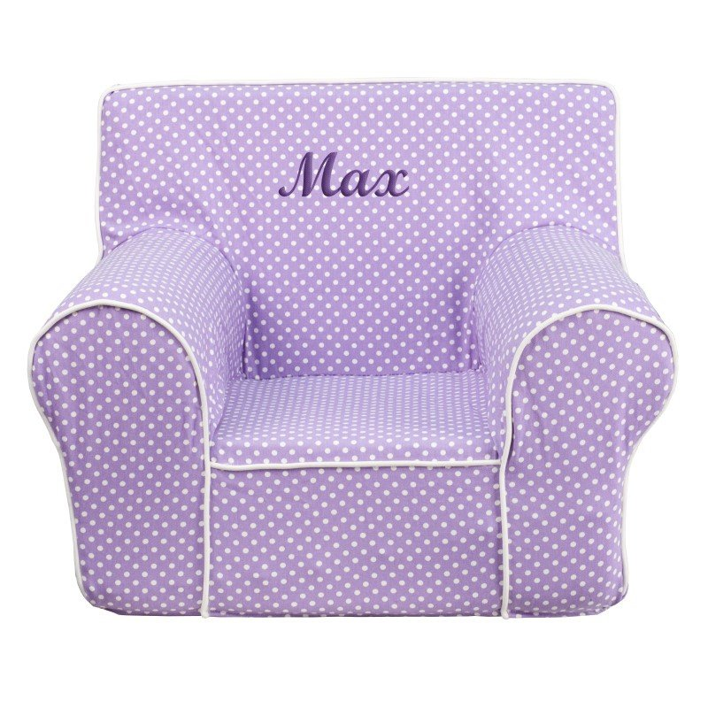 Flash Furniture Personalized Small Lavender Dot Kids Chair with White Piping