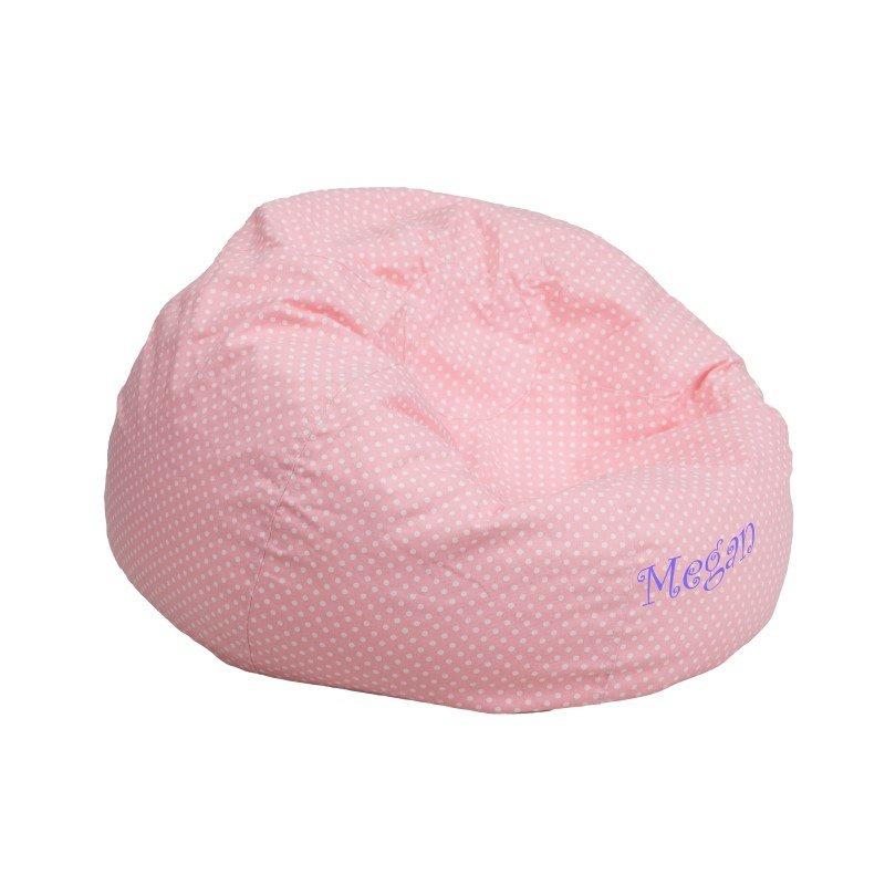 Flash Furniture Personalize Small Light Pink Dot Kids Bean Bag Chair
