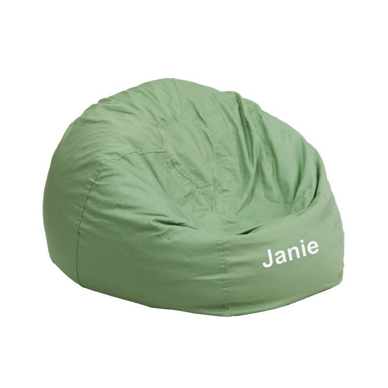 Flash Furniture Personalize Small Solid Green Kids Bean Bag Chair