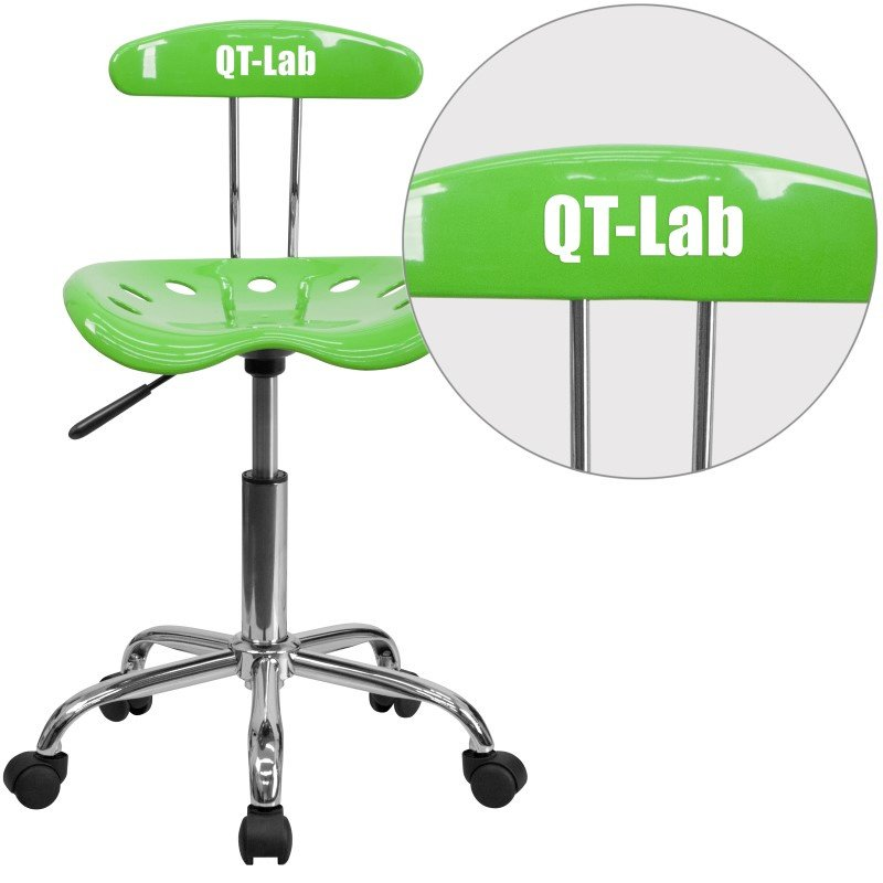 Flash Furniture Personalized Vibrant Apple-Green and Chrome Task Chair with Tractor Seat