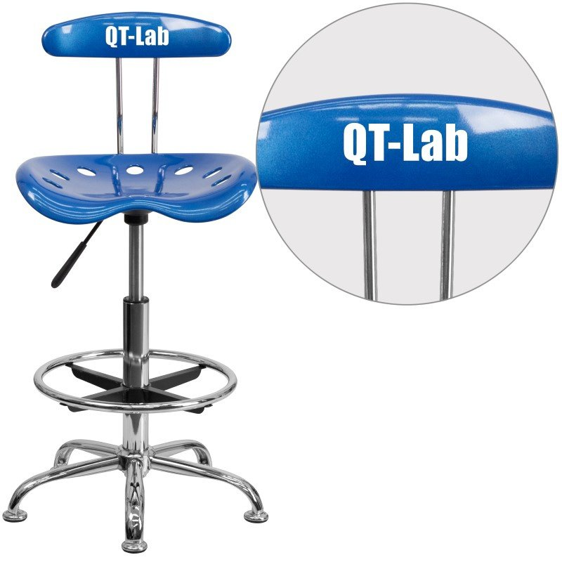 Flash Furniture Personalized Vibrant Bright Blue and Chrome Drafting Stool with Tractor Seat