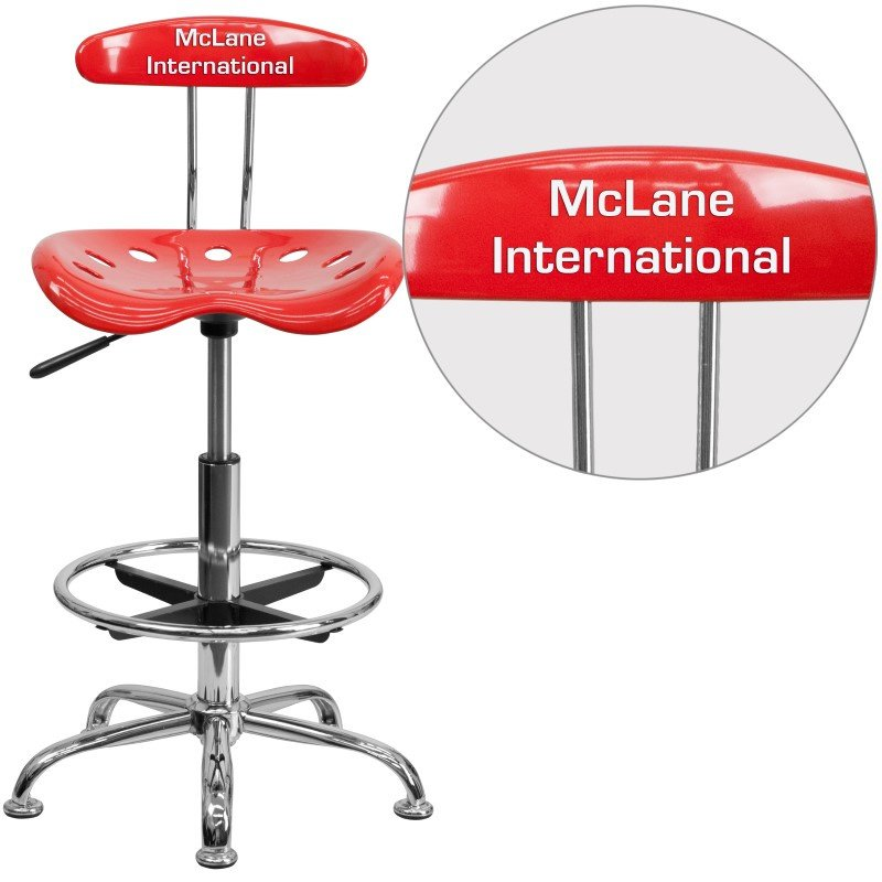 Flash Furniture Personalized Vibrant Cherry Tomato and Chrome Drafting Stool with Tractor Seat