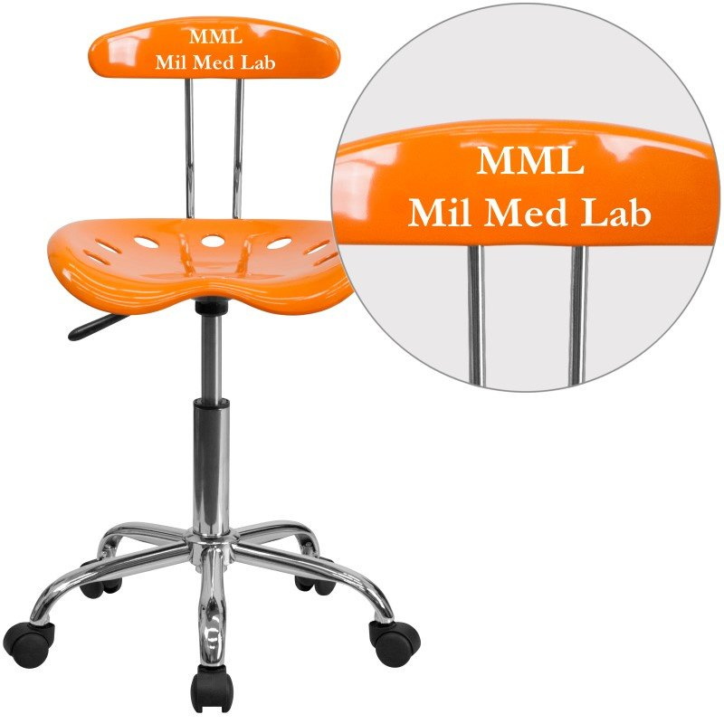 Flash Furniture Personalized Vibrant Orange and Chrome Task Chair with Tractor Seat
