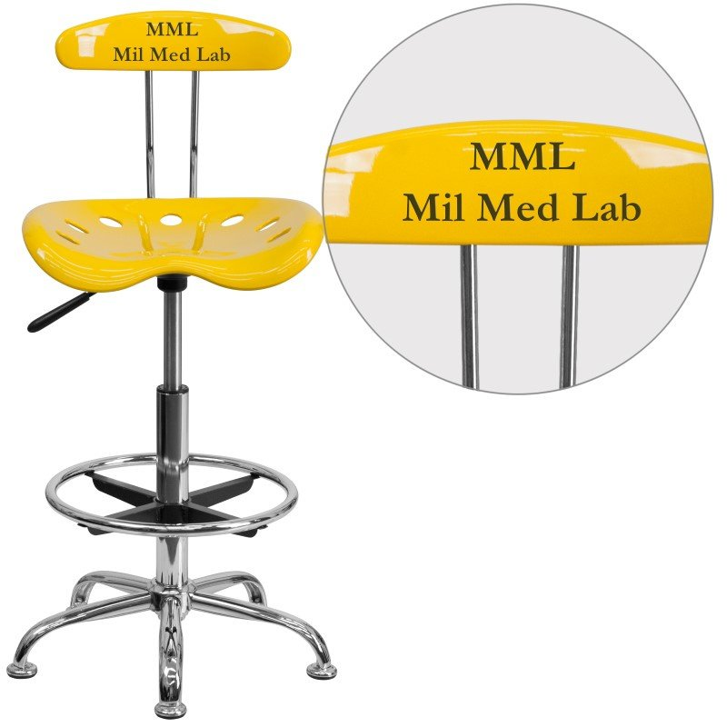 Flash Furniture Personalize Vibrant Orange-Yellow and Chrome Drafting Stool with Tractor Seat