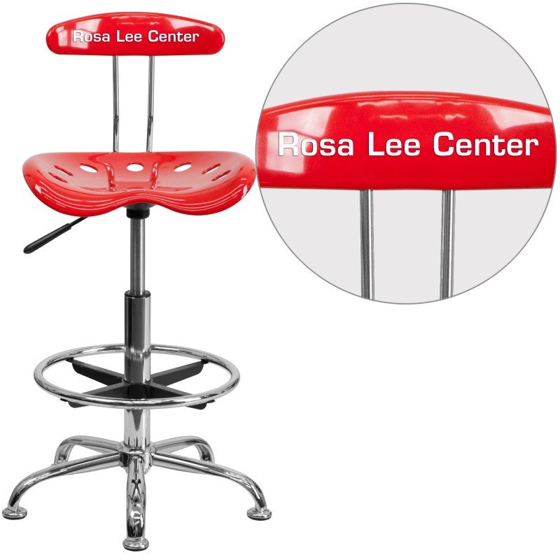 Flash Furniture Personalize Vibrant Red and Chrome Drafting Stool with Tractor Seat