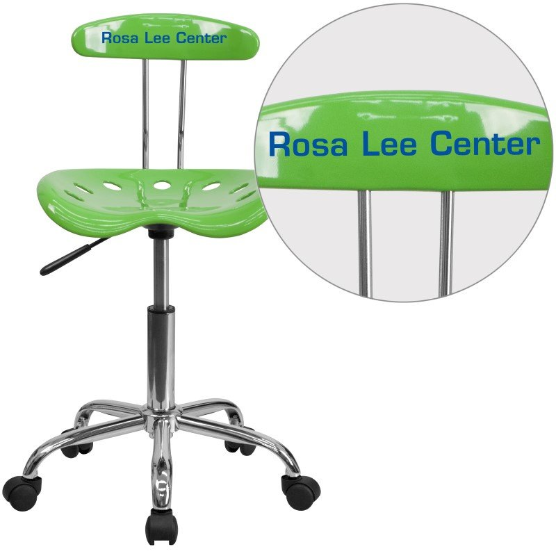 Flash Furniture Personalize Vibrant Spicy Lime and Chrome Task Chair with Tractor Seat